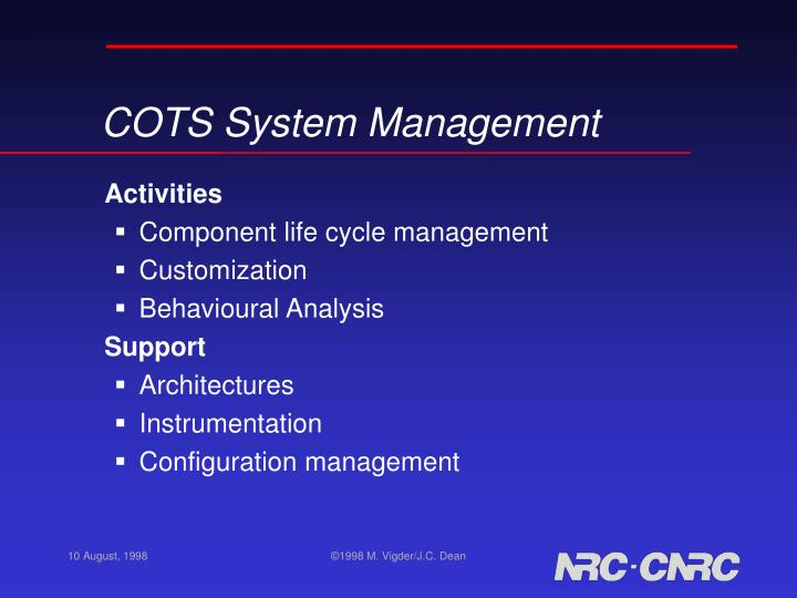 COTS System Management