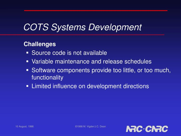 COTS Systems Development