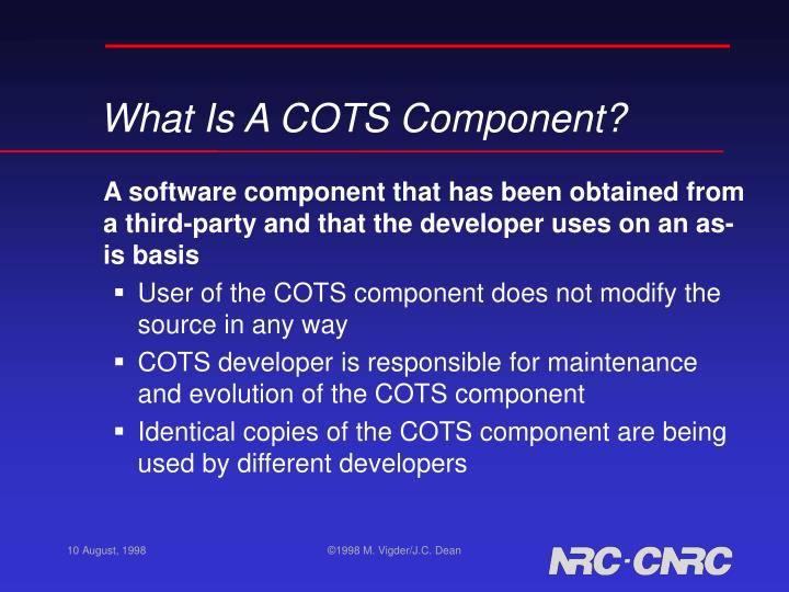 What Is A COTS Component?