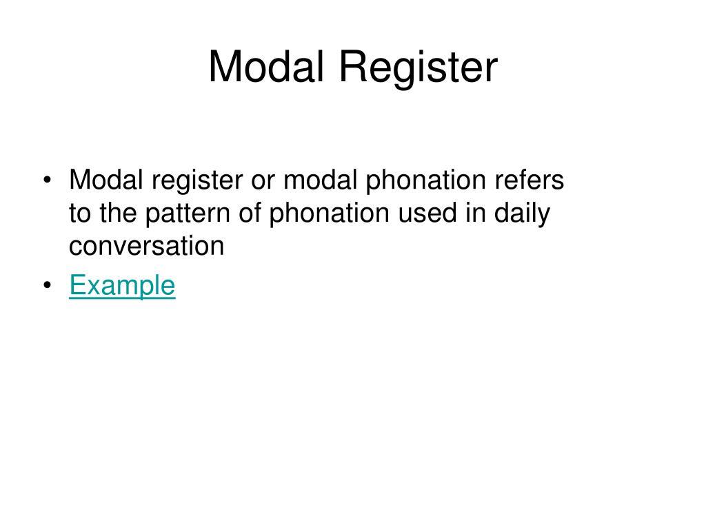 Modal Register