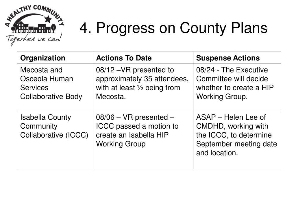 4. Progress on County Plans