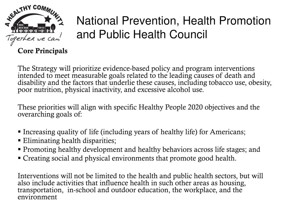 National Prevention, Health Promotion