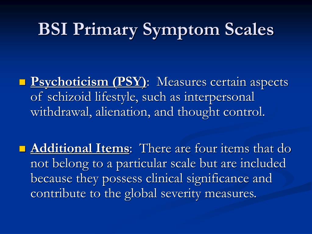 BSI Primary Symptom Scales
