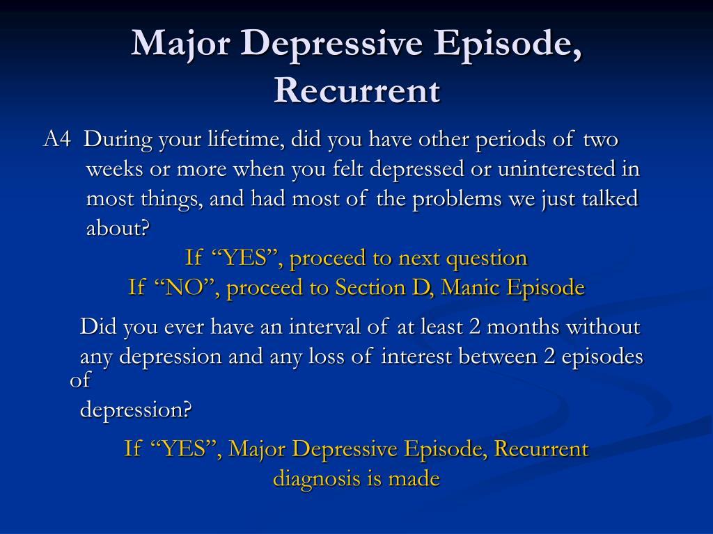 Major Depressive Episode, Recurrent