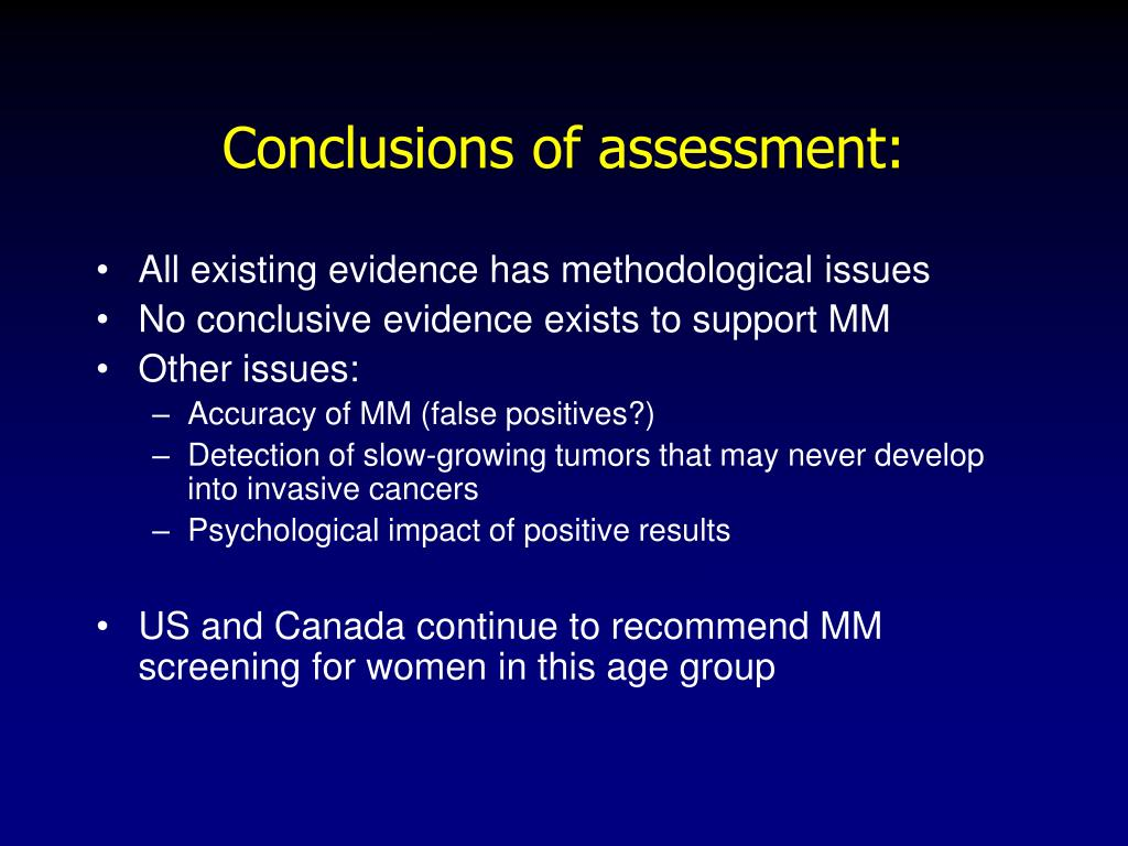 Conclusions of assessment: