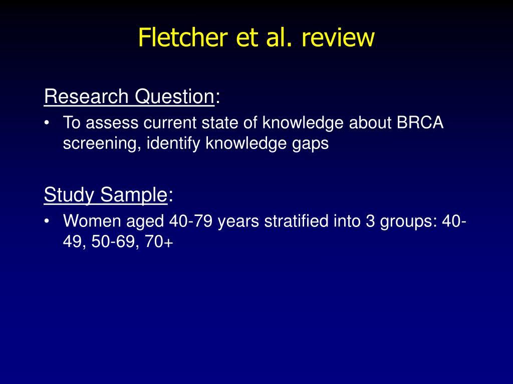 Fletcher et al. review
