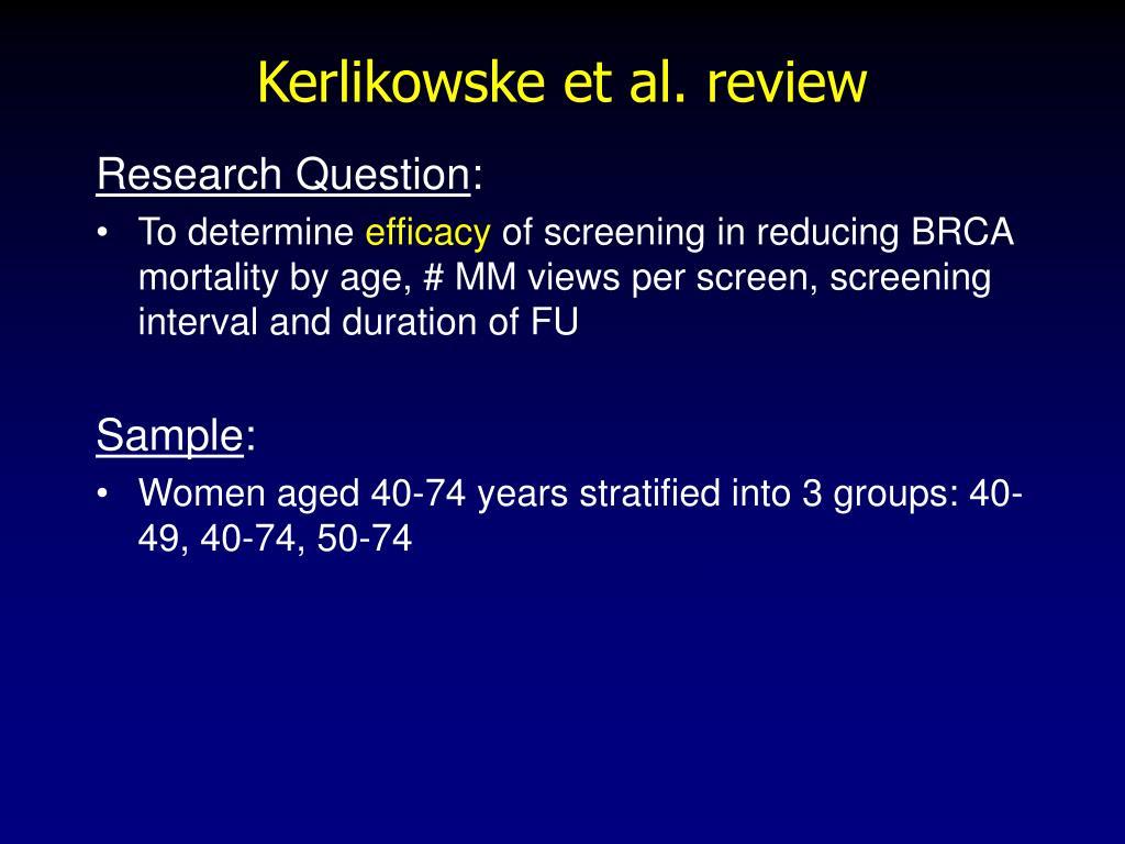 Kerlikowske et al. review