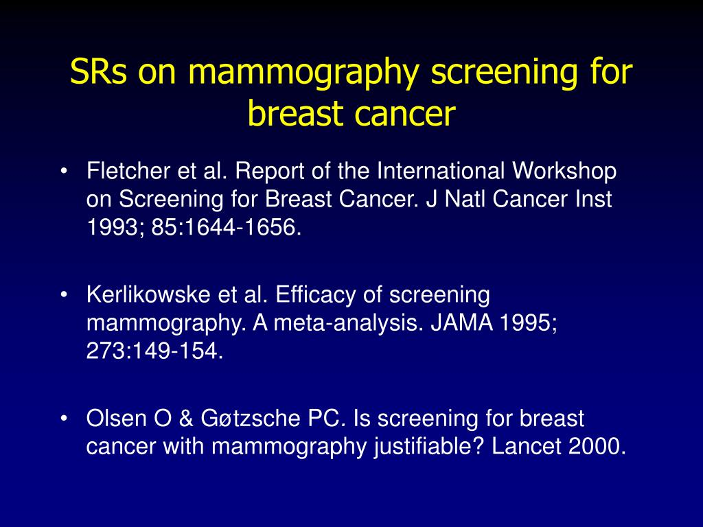 SRs on mammography screening for breast cancer