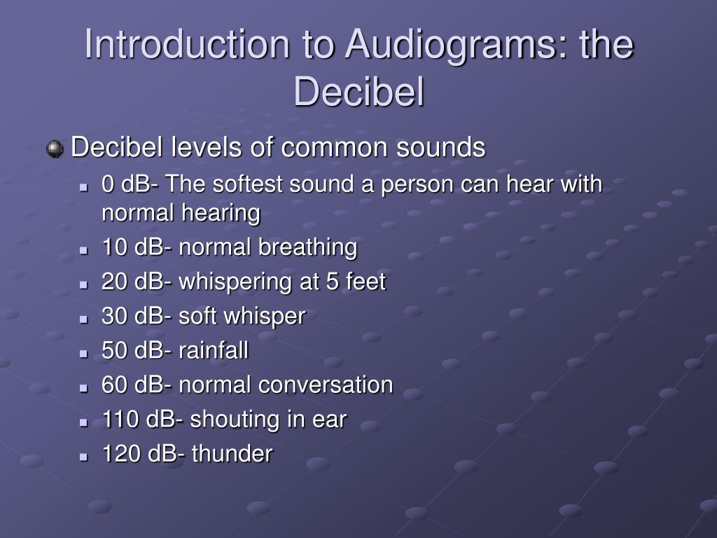 Introduction to Audiograms: the Decibel