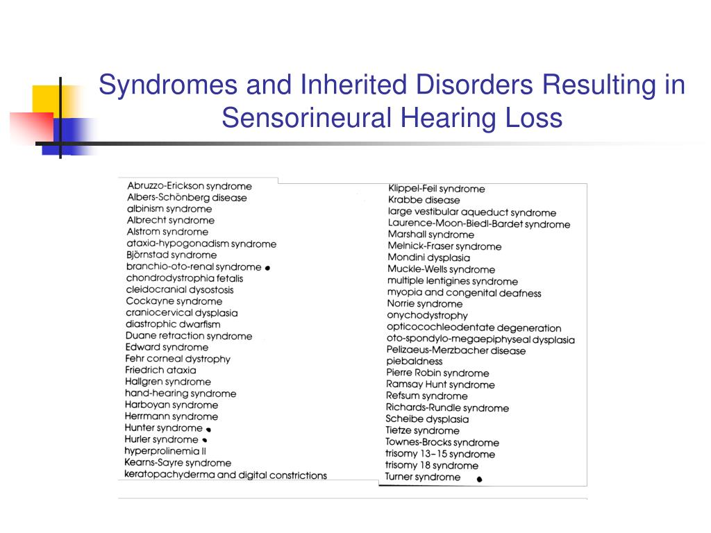 Syndromes and Inherited Disorders Resulting in Sensorineural Hearing Loss