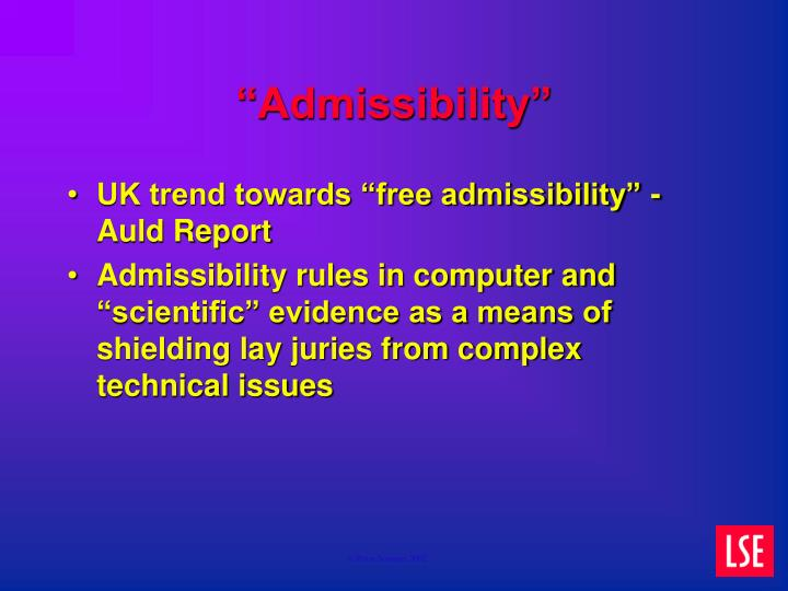 """Admissibility"""