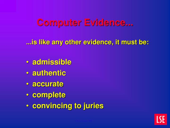 Computer Evidence...