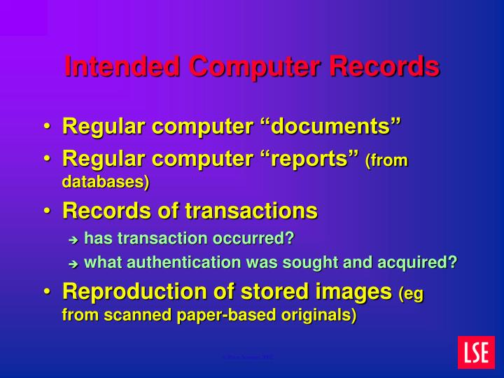 Intended Computer Records