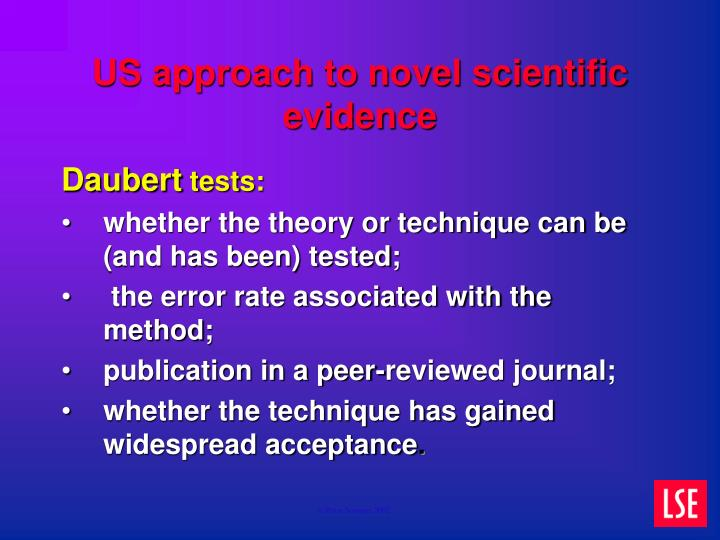 US approach to novel scientific evidence