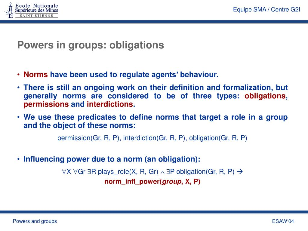 Powers in groups: obligations