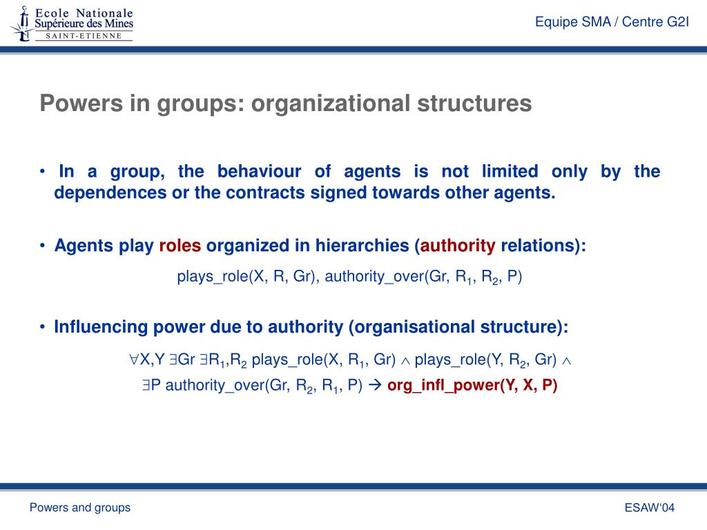 Powers in groups: organizational structures