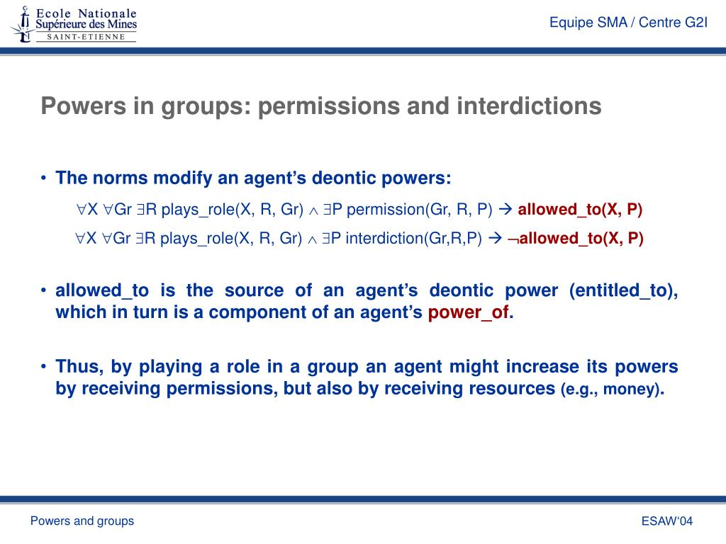 Powers in groups: permissions and interdictions