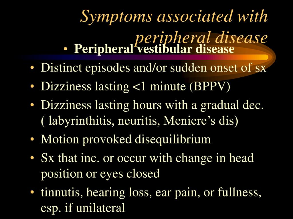 Symptoms associated with peripheral disease