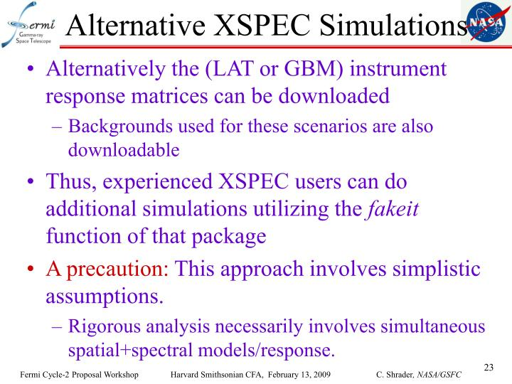 Alternative XSPEC Simulations