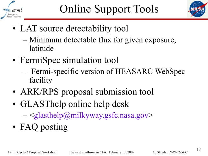 Online Support Tools