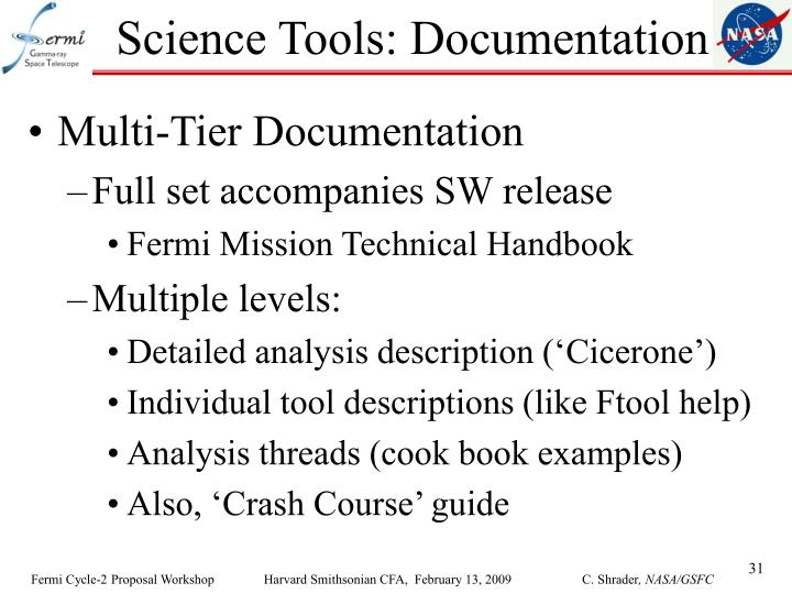 Science Tools: Documentation