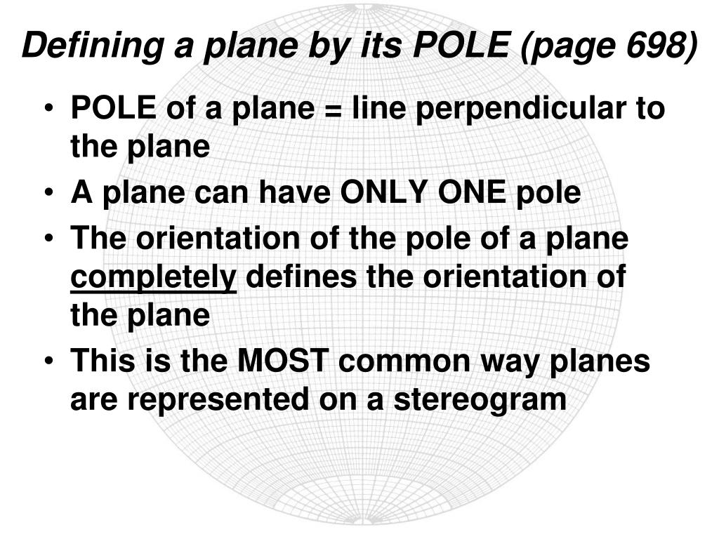 Defining a plane by its POLE (page 698)