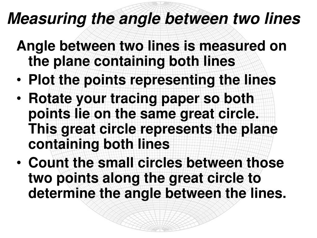 Measuring the angle between two lines