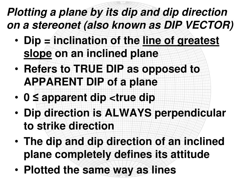 Plotting a plane by its dip and dip direction on a stereonet (also known as DIP VECTOR)
