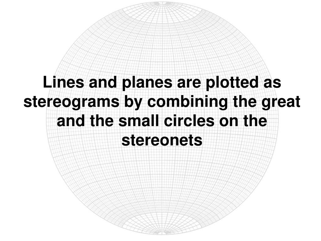 Lines and planes are plotted as stereograms by combining the great and the small circles on the stereonets