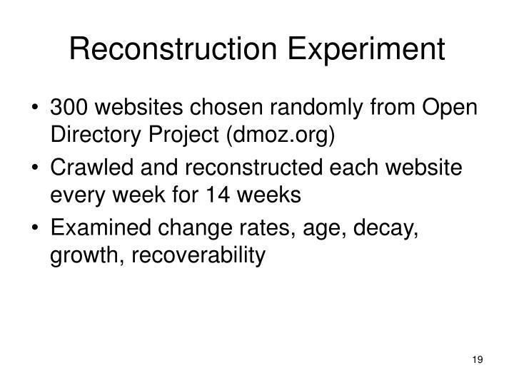 Reconstruction Experiment