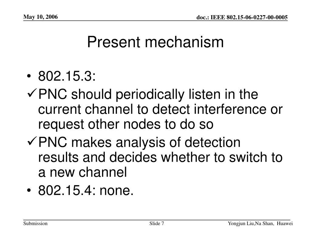 Present mechanism