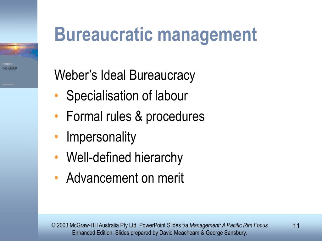 ideal bureaucratic organisatio Chapter seven: bureaucracy and formal organizations chapter the real nature of bureaucracy often differs from its ideal image bureaucratic alienation.