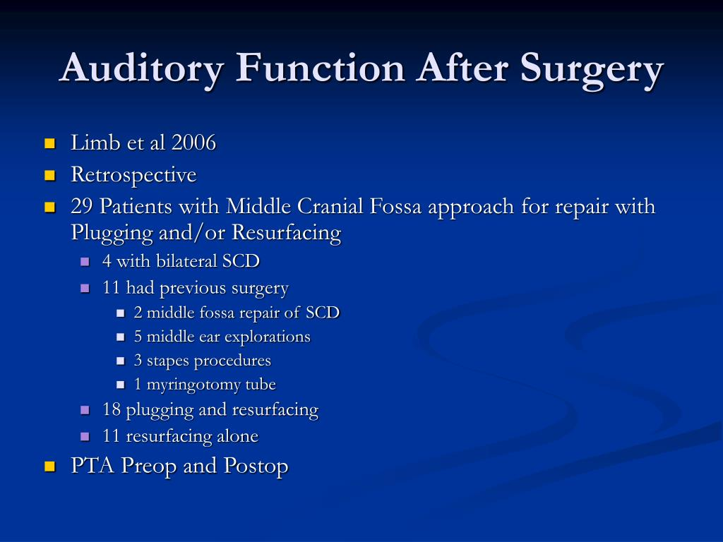 Auditory Function After Surgery