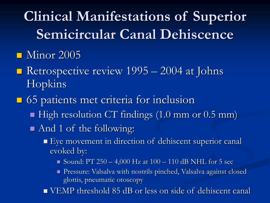 Clinical Manifestations of Superior Semicircular Canal Dehiscence