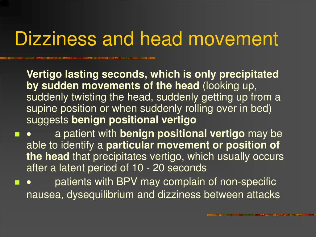 Dizziness and head movement