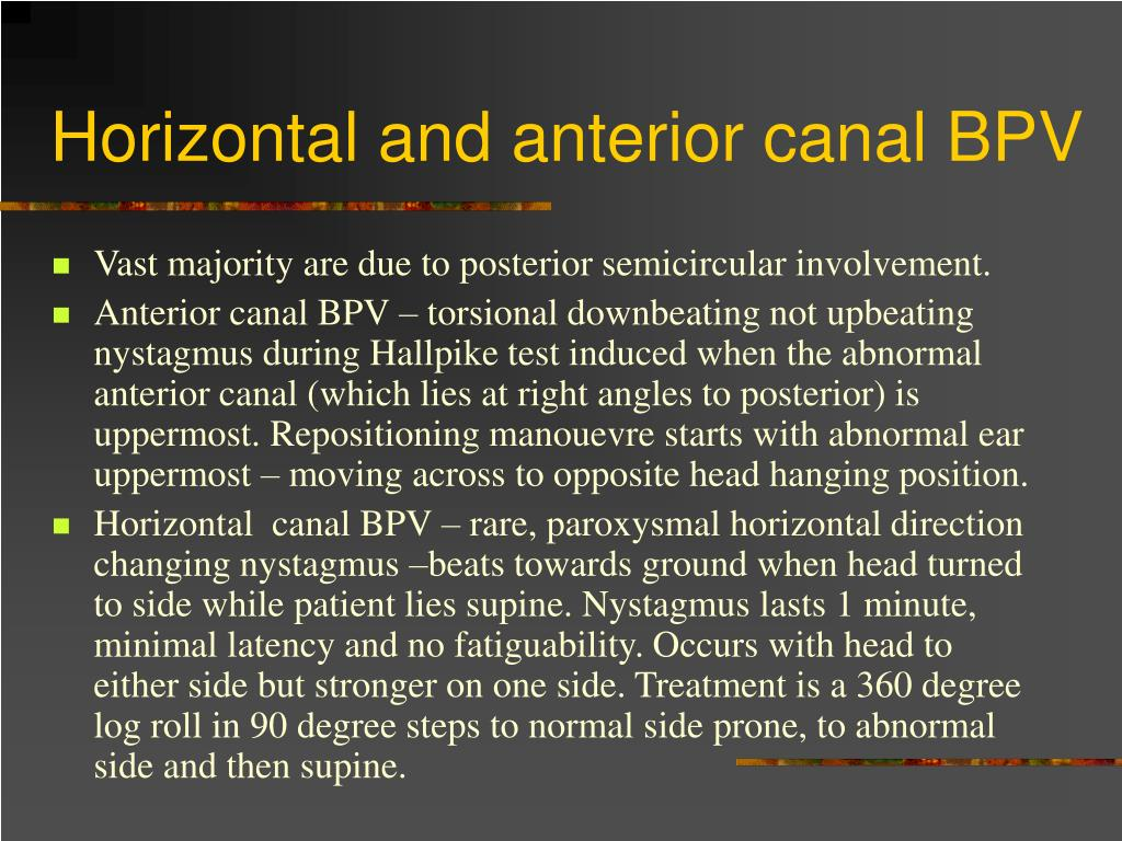 Horizontal and anterior canal BPV