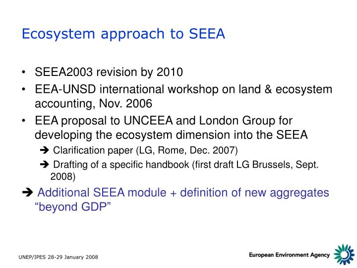 Ecosystem approach to seea