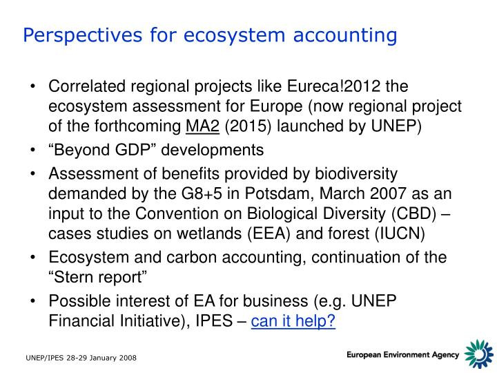 Perspectives for ecosystem accounting