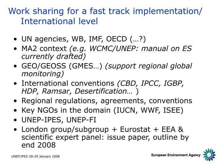 Work sharing for a fast track implementation/ International level