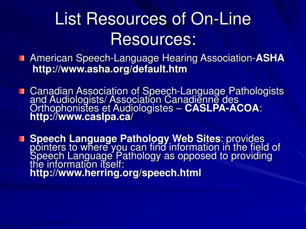 List Resources of On-Line Resources: