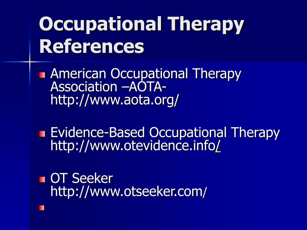 Occupational Therapy References