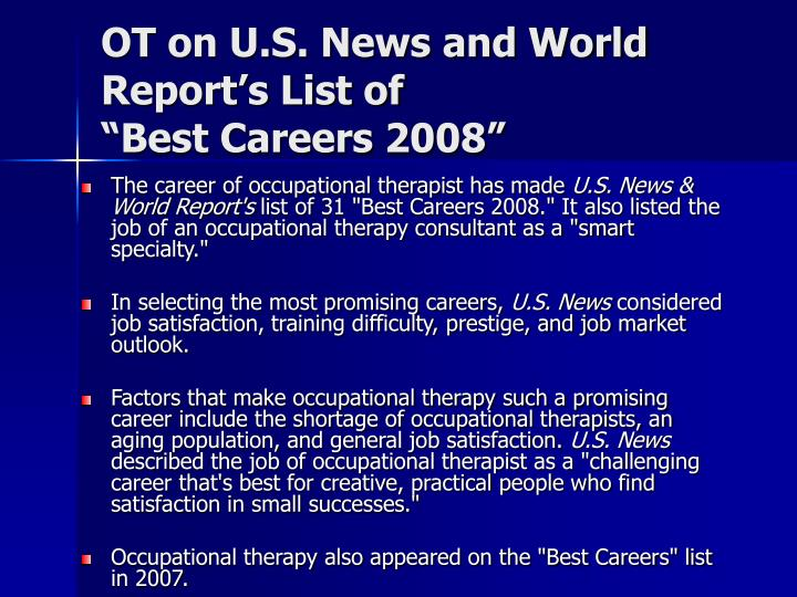 Ot on u s news and world report s list of best careers 2008