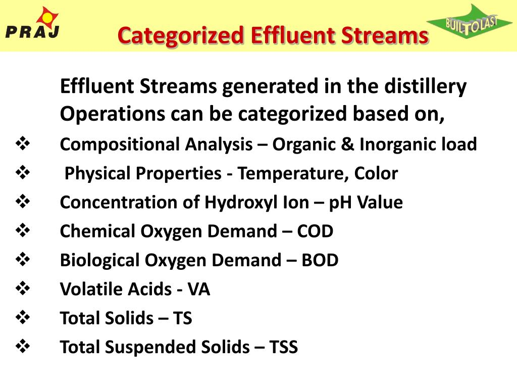 Categorized Effluent Streams