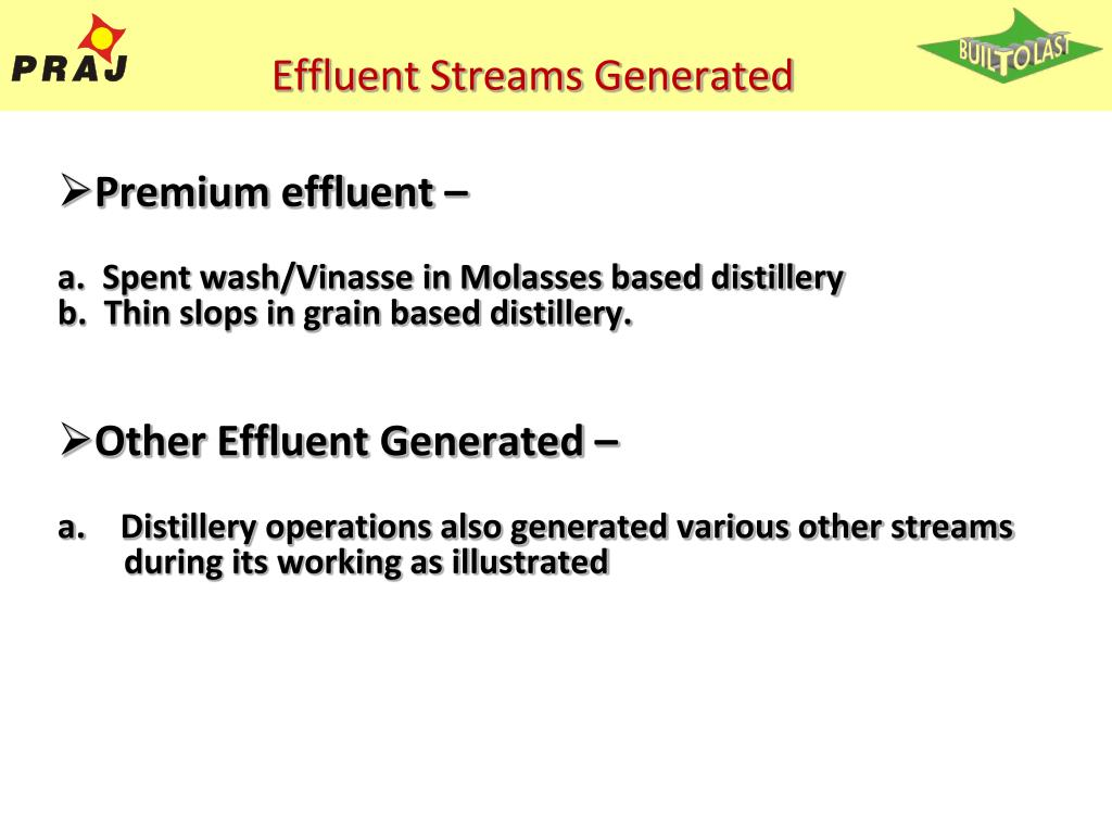 Effluent Streams Generated