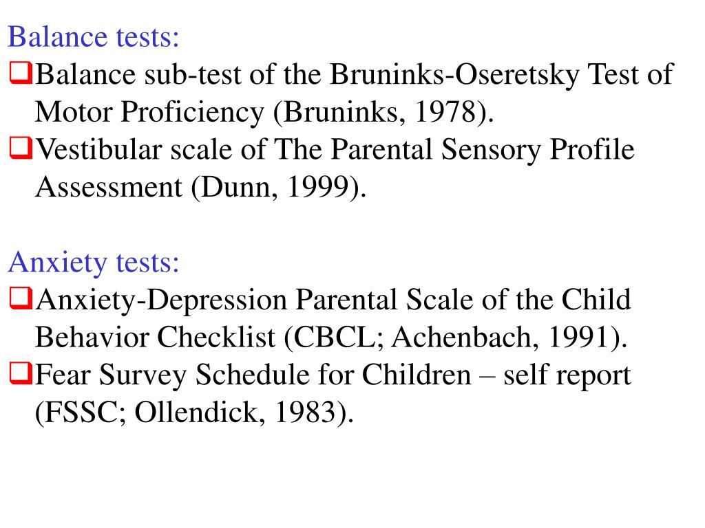 Balance tests: