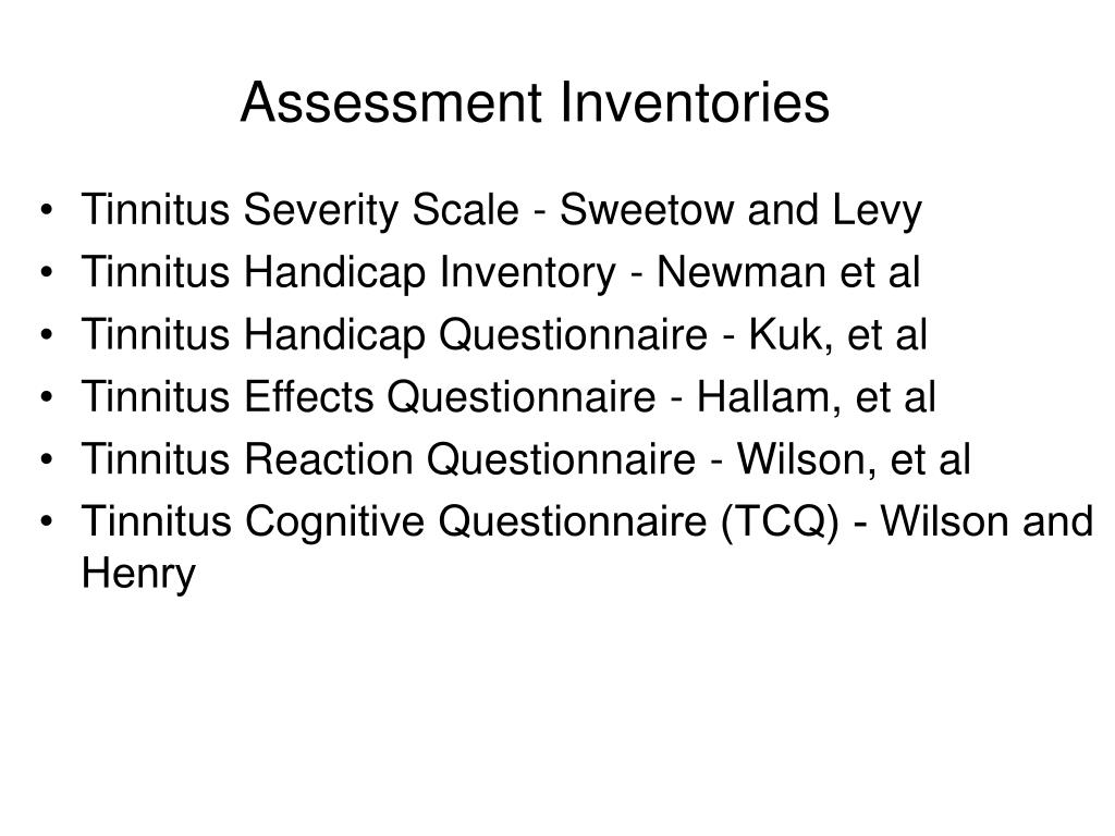 Assessment Inventories