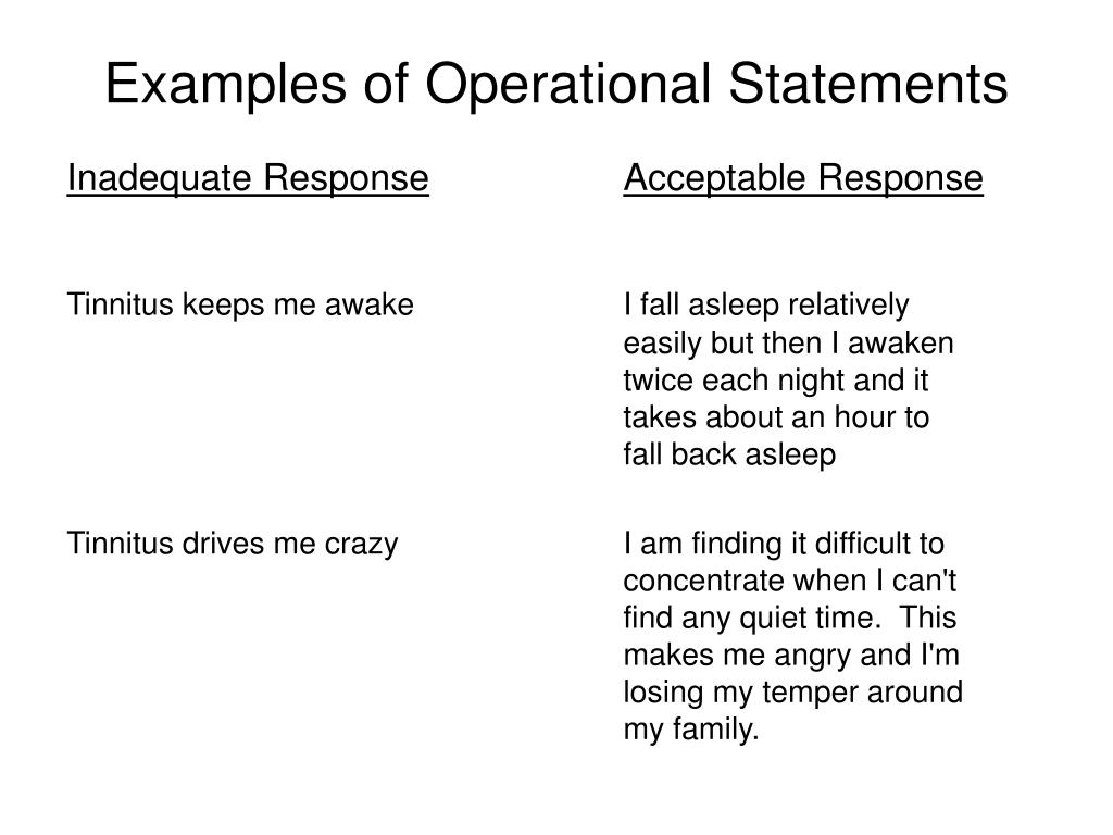 Examples of Operational Statements