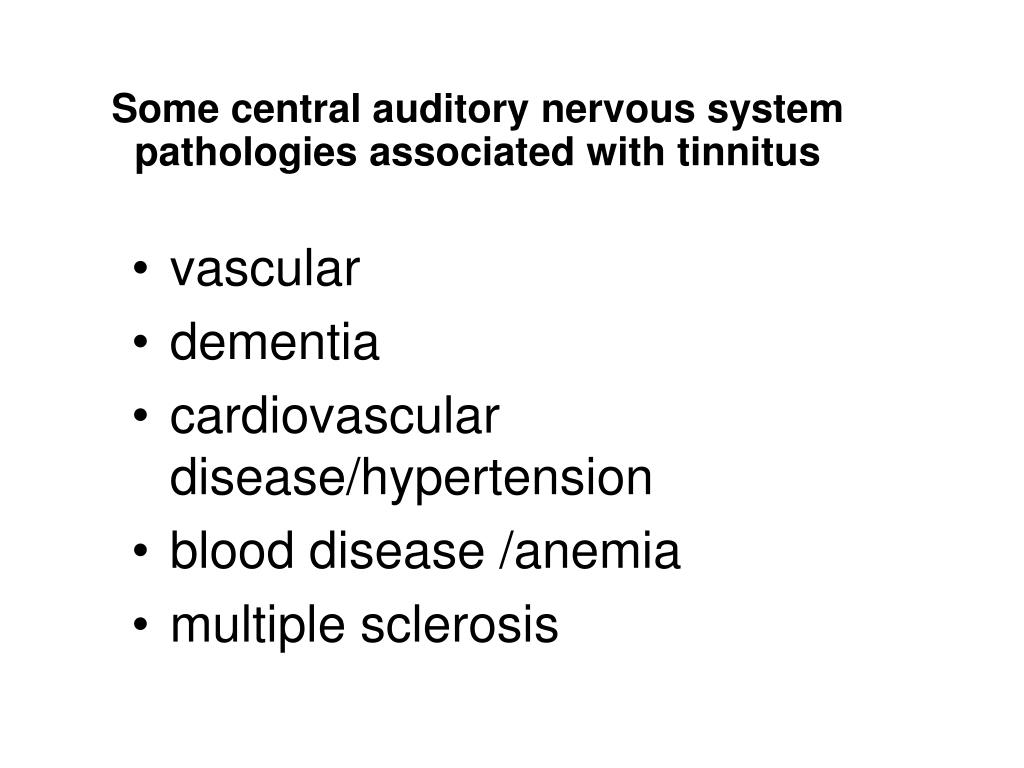 Some central auditory nervous system pathologies associated with tinnitus