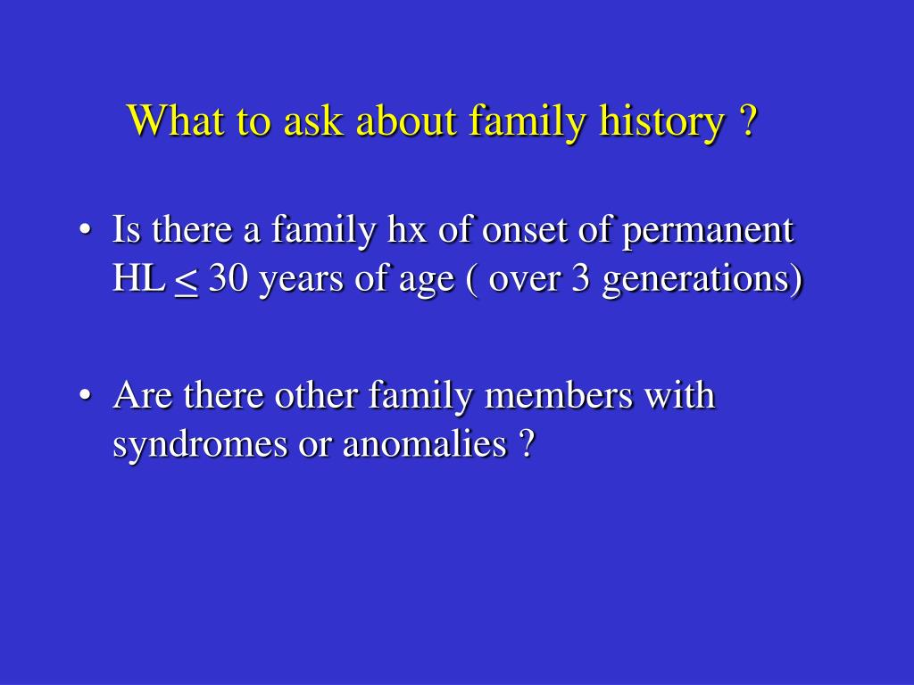 What to ask about family history ?