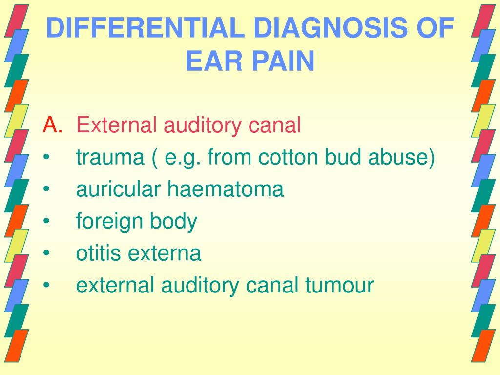 DIFFERENTIAL DIAGNOSIS OF EAR PAIN